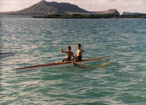 A young Milan and Karel Jnr on the first OC2, a customised Outrigger 27